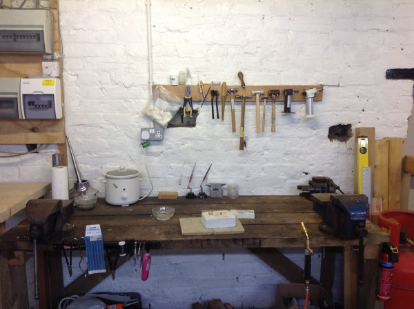 The hot area and hammering bench