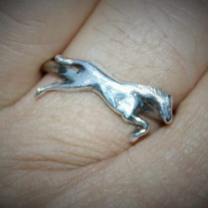 horse ring being worn made to size from solid silver and sterling silver at www.lrsilverjewellery.co.uk