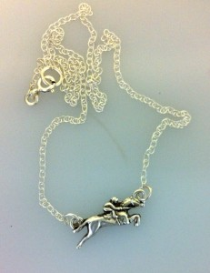 "solid silver jumping horse and rider on 18"" sterling silver chain by www.lrsilverjewellery.co.uk"