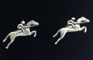 solid silver jumping horse and rider earrings on sterling silver stud posts by www.lrsilverjewellery.co.uk
