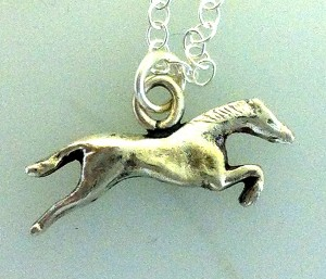 "Solid silver jumping horse on sterling silver 18"" chain, handmade by www.lrsilverjewellery.co.uk"