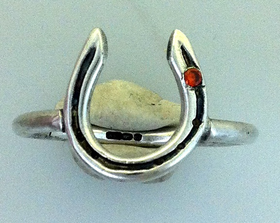 solid silver horseshoe ring with crystal in stud hole on sterling silver ring band, handmade at www.lrsilverjewellery.co.uk