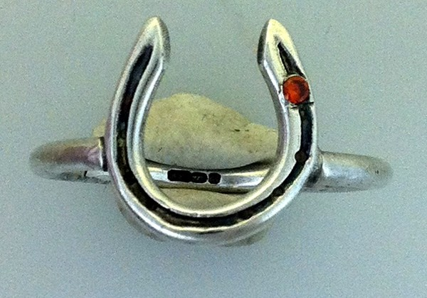 solid silver horseshoe ring on sterling silver band with stone in stud hole handmade at www.lrsilverjewellery.co.uk