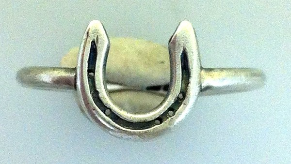 solid silver horseshoe ring on sterling silver ring band, handmade at www.lrsilverjewellery.co.uk