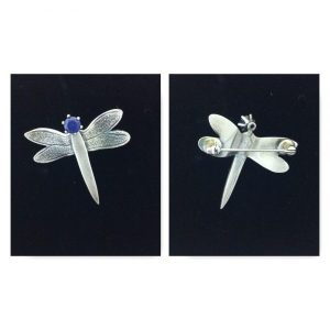 beautiful dragonfly brooch in solid silver made at the silver clay brooch course at www.lrsilverjewellery.co.uk